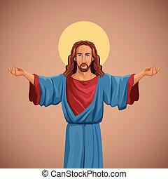 kép, áldott, krisztus, vallásos, jézus