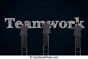 kép, írás, üzletember, összetett, csapatmunka