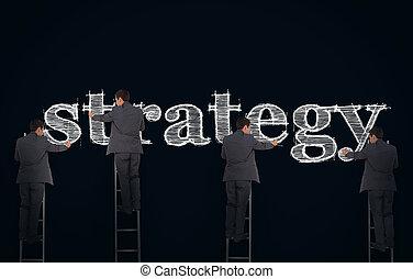 kép, írás, üzletember, összetett, stratégia
