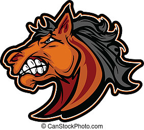 kép, amerikai félvad ló, vektor, kabala, csődör, karikatúra