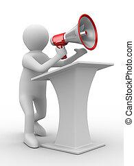 kép, elszigetelt, megaphone., szónok, beszél, 3