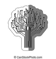 kép, fa, áramkör, ikon