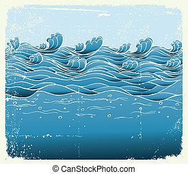 kép, grunge, blue háttér, tenger, vektor, tervezés, waves.