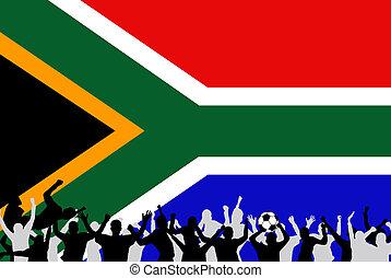 kép, közül, egy, befog, futball foci, ünneplés, noha, a, lobogó, alapján, déli, africa.