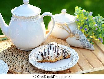 kép, közül, egy, kellemes, reggeli, a kertben