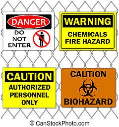 kép, közül, különféle, veszély, és, figyelmeztet, cégtábla,...