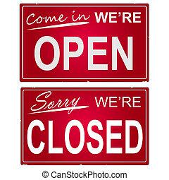 """kép, közül, \""""open\"""", és, \""""closed\"""", ügy, signs."""