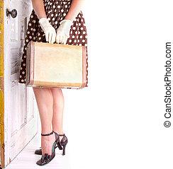 kép, nő, retro, birtok, poggyász