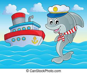 kép, noha, delfin, téma, 2