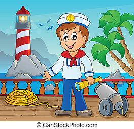 kép, noha, tengerész, téma, 2