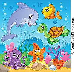 kép, noha, tenger alatti, téma, 2