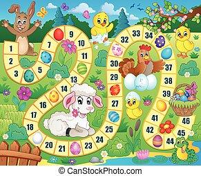 kép, téma, bizottság, húsvét, játék