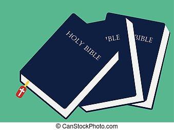 kép, vektor, csukott, ábra, biblia