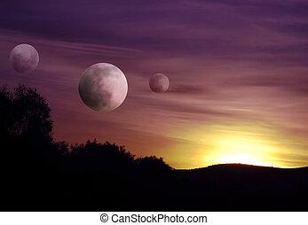 képben látható, egy, bolygó, messze