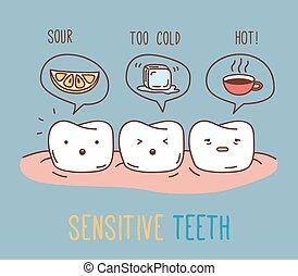 képregény, körülbelül, érzékeny, teeth.