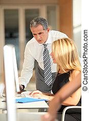 képzés, co-workers, ügy