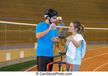 képzés, edző, velodrome, atléta, női