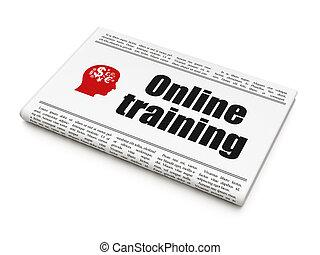 képzés, fej, online, újság, hír, oktatás, concept: