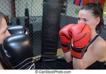 képzés, két, női, bokszoló