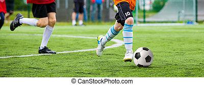 képzés, labdarúgás, lovagi torna, children., futballmeccs