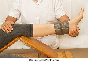 képzés, rehab, gyógyász, quatriceps, térd, izom, fizikai