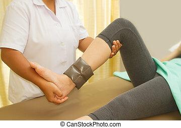 képzés, rehab, gyógyász, térd, izom, fizikai