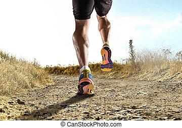képzés, sport, út cipő, atlétikai, tréning, feláll, lábak, kocogás, erős, állóképesség, becsuk, combok, ember