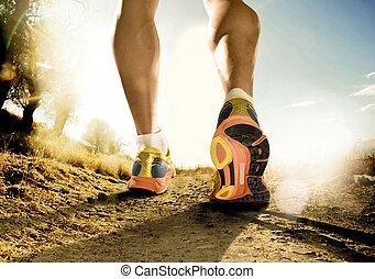 képzés, sport, el, cipők, combok, tréning, kocogás, állóképesség, erős, út, ember