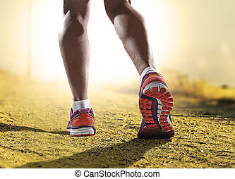 képzés, woman út, cipők, atlétikai, feláll, lábak, kocogás, sport, erős, női, állóképesség, becsuk, combok