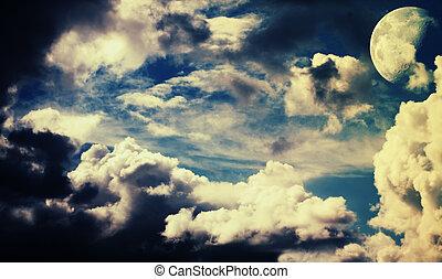 képzelet, éjszaka ég, noha, hold, elvont, háttér