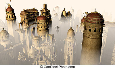 képzelet, 3, város, forma, múlt, fordíts, jövő