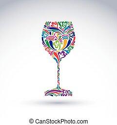 képzelet, dekoráció, művészet, tervezés, talpas pohár, noha,...