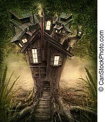 képzelet, fa épület