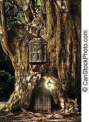 képzelet, fairytale, kisméretű, épület, alatt, fa, alatt,...