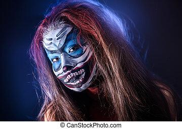 képzelet, hallowen, csinál, feláll., elzáródik, lövés, közül, tündér, arc, művészet