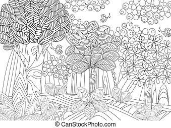 képzelet, könyv, színezés, erdő