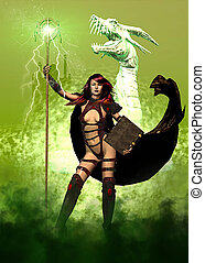 képzelet, női, és, sárkány