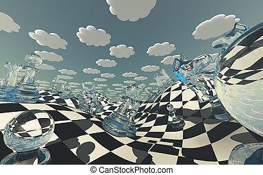 képzelet, sakktábla, táj