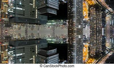 képzelet, timelapse, közül, tokió, noha, tükrözött, épületek
