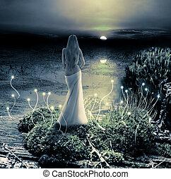 képzelet, varázslatos, world., kobold, és, napnyugta