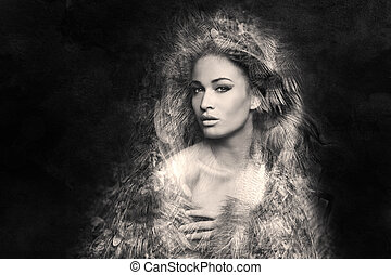 képzelet, woman portré