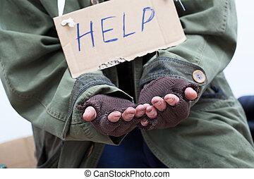 kérdezés, szegény, segítség
