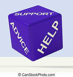 kérdez, felelet, és, segítség, dobókocka