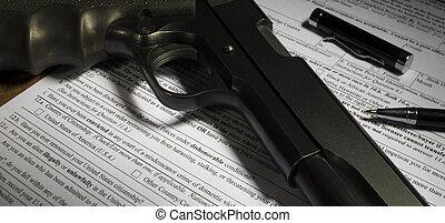 kérdez, körülbelül, dishonorable, elbocsátás, képben látható, a, pisztoly, átutalás, forma