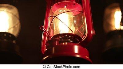 kérosène, vendange, nostalgique, lampe, mode, table