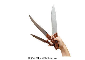 kés, fehér, elszigetelt, hatalom kezezés