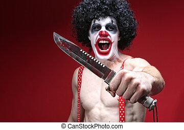 kés, kísérteties, birtok, bohóckodik, véres