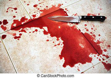 kés, véres