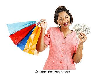 készpénz, helyett, bevásárol spree