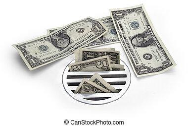 készpénz, le csatornáz
